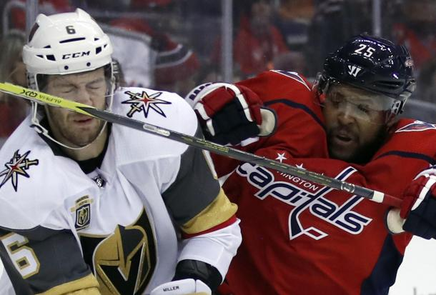 The Vegas Golden Knights clashed with the Washington Capitals on February 4, 2018. (Photo: AP Photo/Alex Brandon)