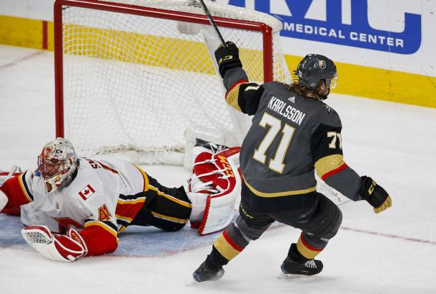It was the William Karlsson show as he scored a natural hat-trick. (Photo: Richard Brian-Las Vegas Review Journal)