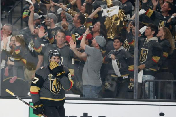 The Vegas Golden Knights won their first playoff game as they beat the LA Kings 1-0. (AP Photo/John Locher)