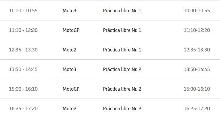 Horario viernes   Fuente: MotoGP.com