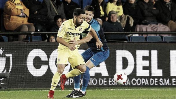Jaume Costa subió una y otra vez la banda izquierda y asistió en el tercer gol a Bacca / Foto: @VillarrealCF