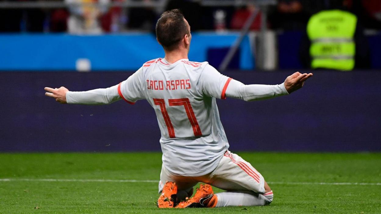 Iago Aspas celebrando un gol con la selección | Fuente: Pierre Philippe Marcou