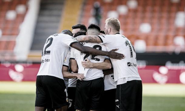 Celebración del gol de Wass./ Foto: Valencia CF