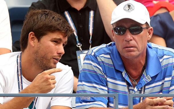 Dani Vallverdu (left) chats to Ivan Lendl during a match at the 2015 Australian Open. Photo: Getty Images