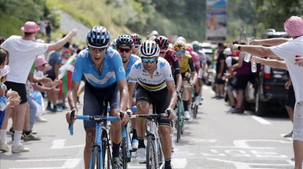 Valverde está haciendo un gran Tour con el maillot arco iris. | Foto: LeTour
