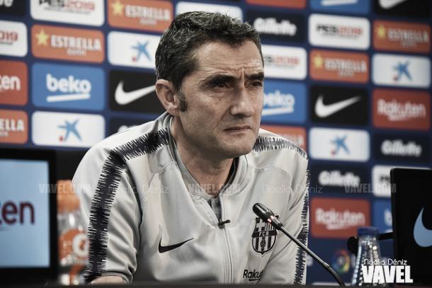 Valverde, en rueda de prensa   Foto: Noelia Déniz - VAVEL
