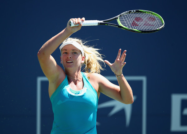 Coco Vandeweghe follows through on a forehand. Photo: Ezra Shaw/Getty Images