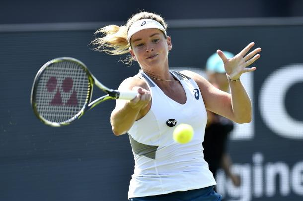 Coco Vandeweghe crushes a forehand in an earlier match. Photo: Ricoh Open