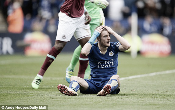 Above: Jamie Vardy recieves a second yellow card for simulation in West Ham's 1-0 defeat to Leicester City | Andy Hooper/ Daily Mail