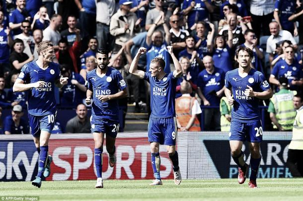 Above: Leicester City's Jamie Vardy celebrating in their 4-2 win over Sunderland on the opening day of the season | Getty Images