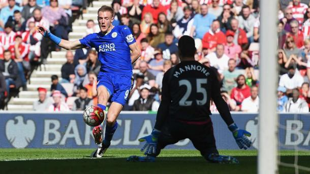 Vardy opens the scoring at the Stadium of Light | Photo: Getty