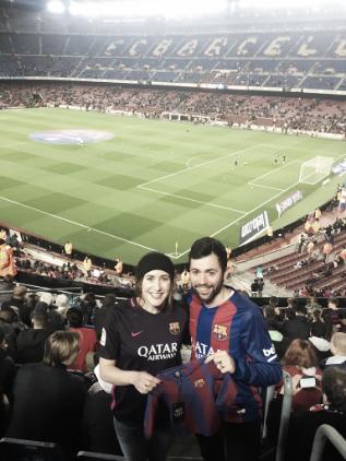 Vasconcelos and her husband Pedro in Barcelona (Photo via murph_vas7 Twitter)