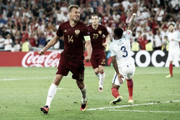 Vasiliy Berezutskiy's fierce celebration as Russia level terms l Photo: ESPN Deportes