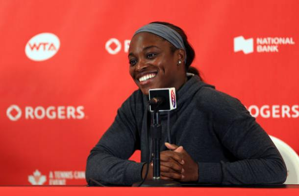 Stephens during a press conference at the Rogers Cup (Getty/Vaughn Ridley)