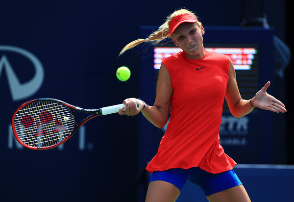Vekic strikes a forehand during her win on Tuesday. Photo: Vaughn Ridley/Getty Images