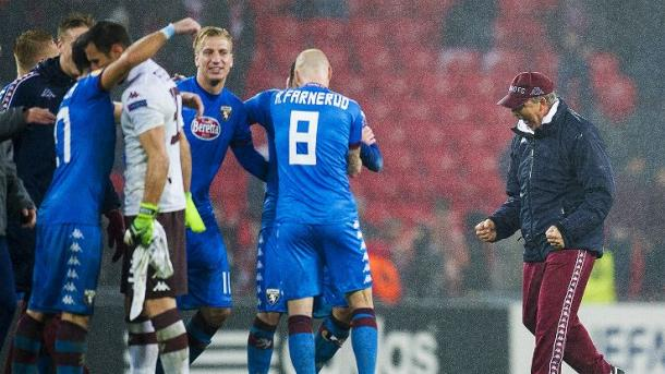 Torino and Ventura celebrate after knocking Bilbao out of the Europa League (Photo: espnfc.com)