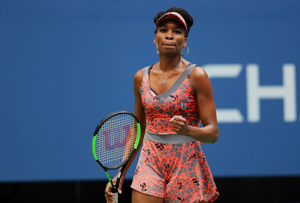 Venus Williams celebrates winning her first round match | Photo: Richard Heathcote/Getty Images North America