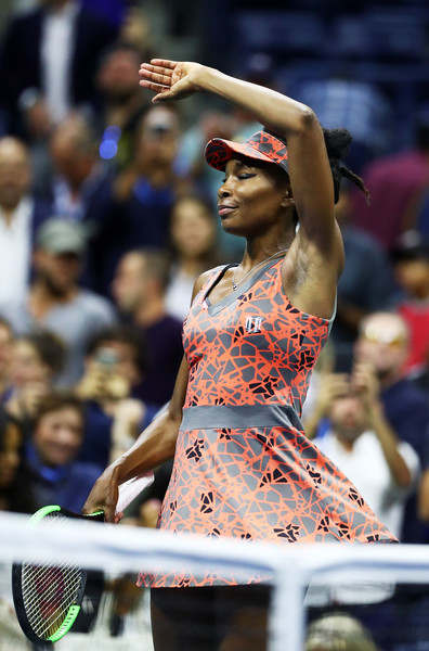 Venus Williams does her famous ballerina twirl celebration after the match | Photo: Al Bello/Getty Images North America