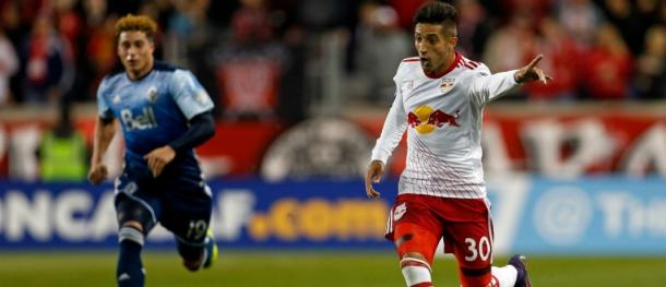Gonzalo Verón races away with the ball for the Red Bulls | Source: AP Images