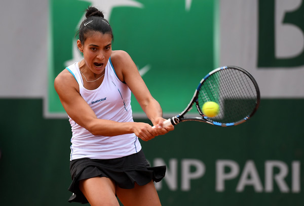 Veronica Cepede Royg hits a backhand during her second round match. Photo: Dennis Grombkowski/Getty Images