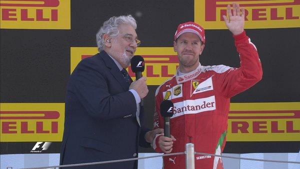 Vettel em sua entrevista no pódio (Foto: Divulgação/F1)