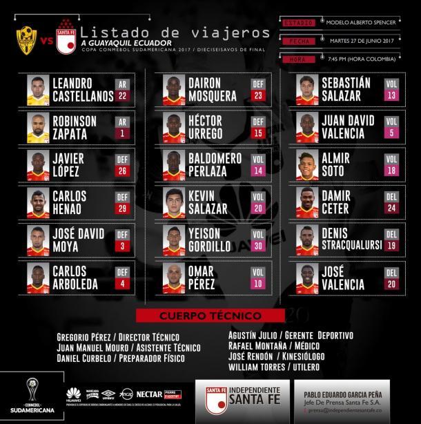 Santa Fe debuta este martes en Copa Sudamericana ante Fuerza Amarilla