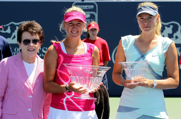 Azarenka and Sharapova pose along their respective trophies after their final in 2010 when the tournament was still held in Stanford   Photo: Jed Jacobsohn/Getty Images North America