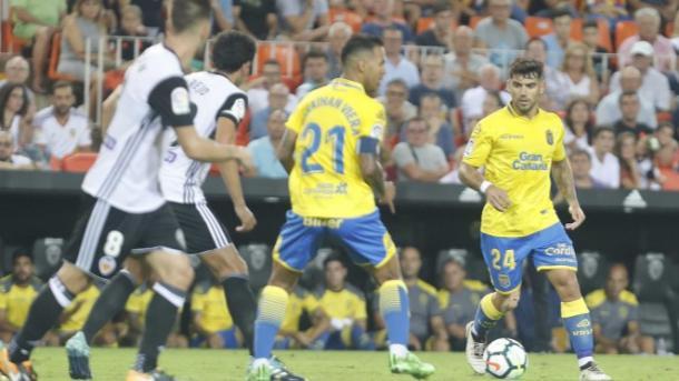 Viera enfrentándose a su ex equipo en Mestalla en la primera jornada de LaLiga. Fuente: Valencia CF