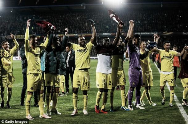 Above: Villarreal celebrate their 4-2 win over Sparta Praha | Getty Images