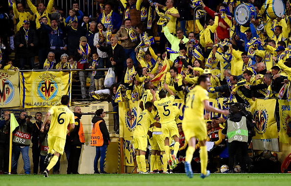 The Villarreal squad celebrates with the fans after Adrian Lopez's late winner. (Getty)