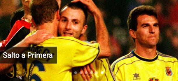 Celebrando el ascenso a Primera División, en la temporada 1997-98. Fuente: villarrealcf.es