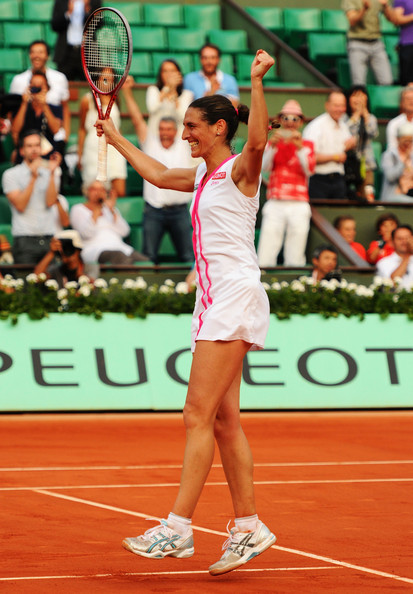 Virginie Razzano after her famous win over Serena Williams in 2012. Photo: Mike Hewitt/Getty Images
