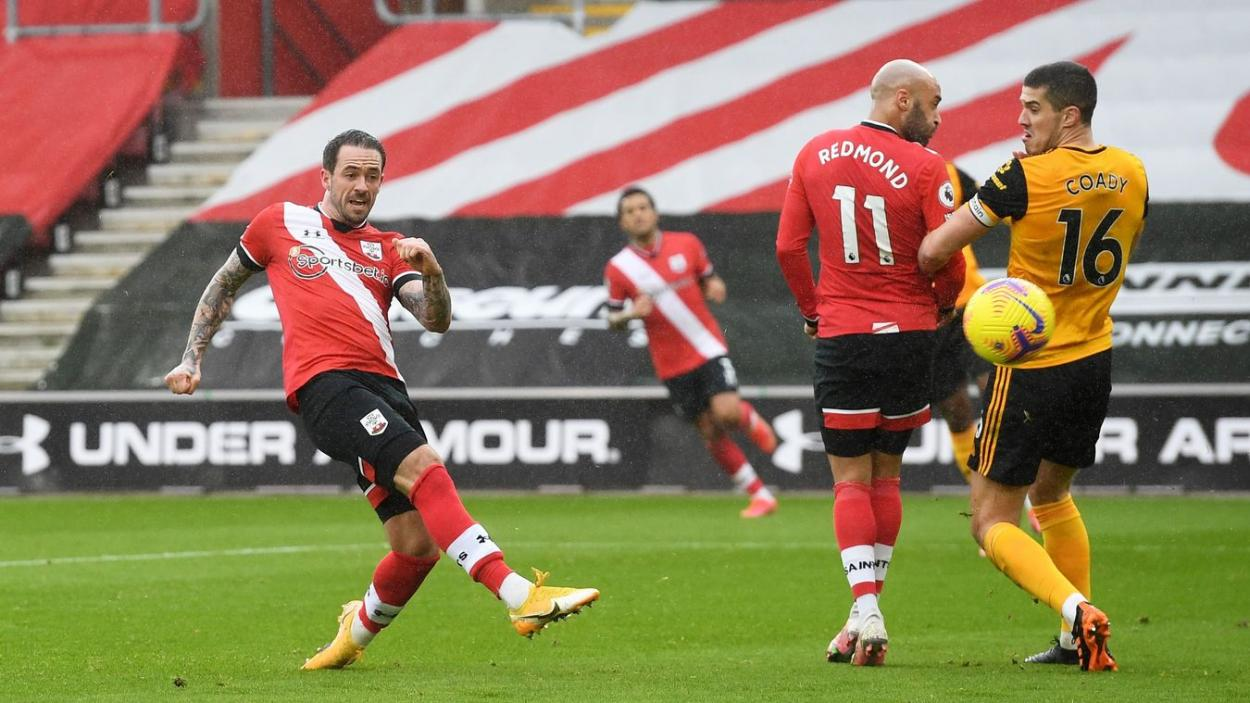 Ejecución de Danny Ings en el primer gol del partido.
