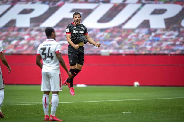 Volland alcanzó los 10 goles en la actual Bundesliga / Foto: @bayer04fussball