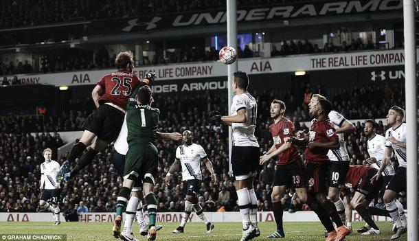 Above: Criag Dawson scores in West Brom's 1-1 draw with high-flying Tottenham Hotspur | Photo: Graham Chadwick