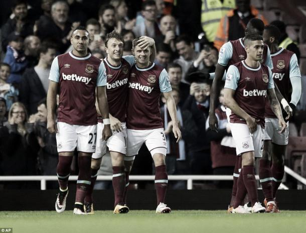 Above: West Ham United celebrate during their 3-1 win over Watford | Photo: AP