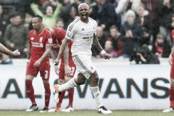 Swansea faithful will be hoping that Andre Ayew (Center) performances against Liverpool carries on Sunday against the Hammers. Photo provided by Action Images.