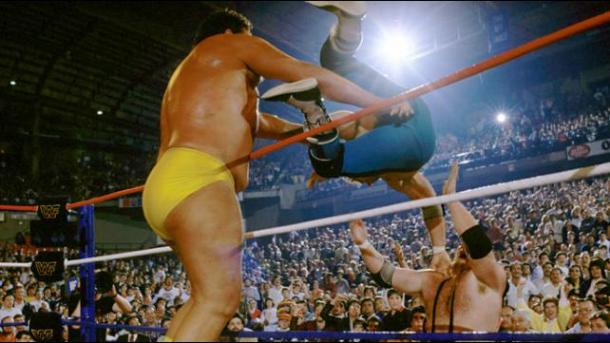 Bombs away! Credit: WWE