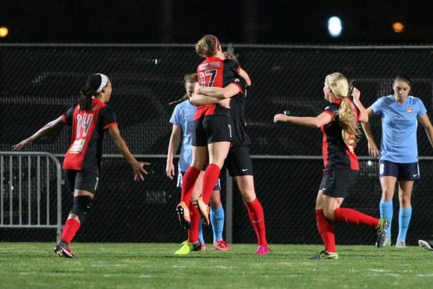 Western New York Flash players celebrate after scoring against Sky Blue FC | Western New York Flash Twitter - @WNYFlash