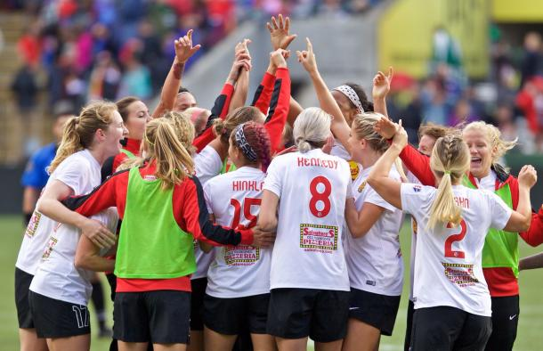 Western New York Flash players celebrate after knocking off the 2016 NWSL Shield winners | Source: Western New York Flash Twitter - @WNYFlash