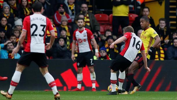 Ward-Prowse en el primer tanto del partido | Fotografía: Premier League