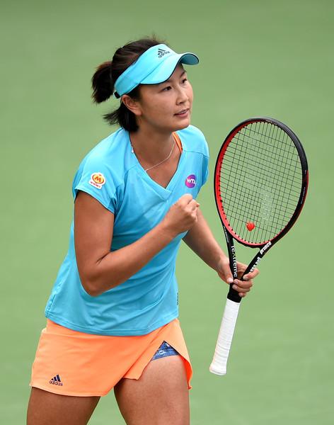 Peng Shuai celebrates her win   Photo: Tom Dulat/Getty Images Europe