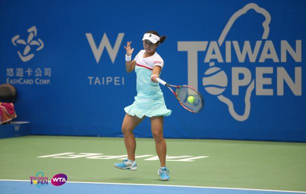 Misaki Doi in action today | Photo: WTA Taiwan Open