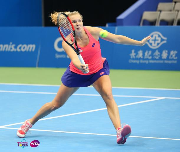 Katerina Siniakova in action in the Taipei Arena | Photo: Pat Scala/Getty Images AsiaPac