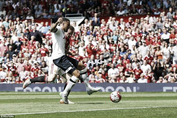 Above: Kyle Walker's own goal gave Manchester United a 1-0 win over Tottenham Hotspur in the opening game of this season | Reuters