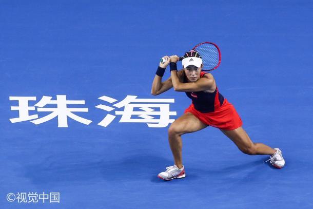 Vitória não foi suficiente para Wang seguir no torneio (Foto: Divulgaçao/WTA Elite Trophy)