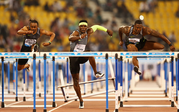 Aires Merritt, Omar Mcleod and David Oliver in action at Doha last week (Getty/Warren Little)