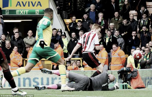 Above: Duncan Watmore places past John Ruddy in Sunderland AFC's 3-0 win over Norwich City | Getty Images