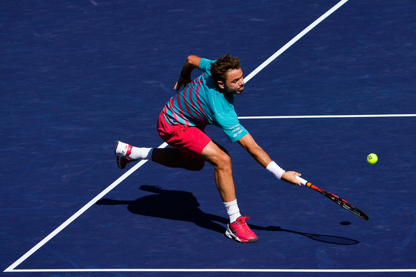 Stan Wawrinka lunges for a forehand during his finals loss. Photo: Alex Goodlett/Getty Images