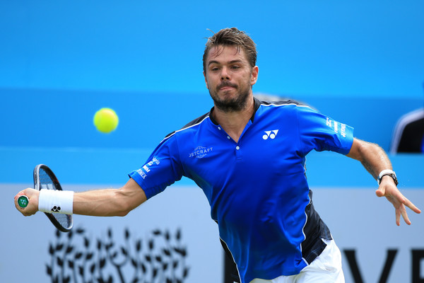 Wawrinka crushes a forehand. Photo: Marc Atkins/Getty Images